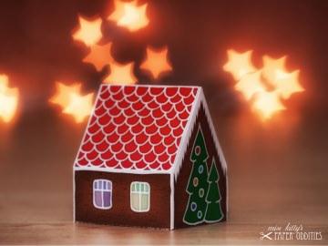 Bastel-Weihnachtskarte »Knusper, knusper, Knäuschen…« mit heraustrennbarem Knusperhaus - Handarbeit kaufen