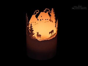 Windlicht-Bastelbogen »Bergdorf« zum Beleuchten mit einem (LED)-Teelicht