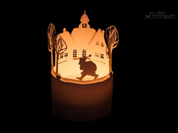 Windlicht-Bastelbogen »Der Weihnachtsmann kommt« zum Beleuchten mit einem (LED)-Teelicht - Handarbeit kaufen
