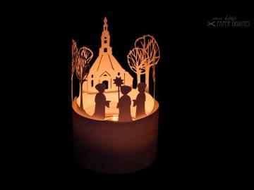 Windlicht-Bastelbogen »Seiffener Kurrende« zum Beleuchten mit einem (LED)-Teelicht