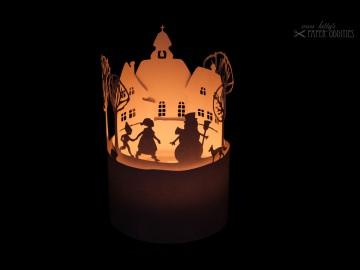 Windlicht-Bastelbogen »Winterzeit« zum Beleuchten mit einem (LED)-Teelicht