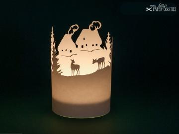 Windlicht-Bastelbogen »Bergdorf« 1-tlg. zum Beleuchten mit einem (LED)-Teelicht