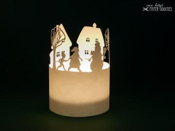 Windlicht-Bastelbogen »Winterzeit« 1-tlg. zum Beleuchten mit einem (LED)-Teelicht - Handarbeit kaufen