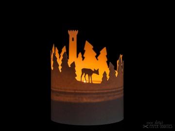 Windlicht-Bastelbogen »Winterwald« zum Beleuchten mit einem (LED)-Teelicht