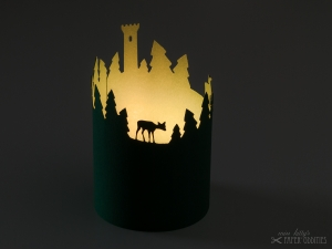 Windlicht-Bastelbogen »Thüringer Wald« zum Beleuchten mit einem (LED)-Teelicht