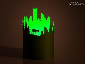 Windlicht-Bastelbogen »Thüringer Wald« zum Beleuchten mit einem (LED)-Teelicht - Handarbeit kaufen