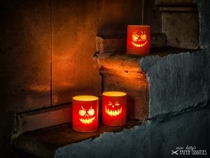 Windlicht-Bastelbogen-Set »Jack O'Lantern« zum Beleuchten mit (LED)-Teelichtern