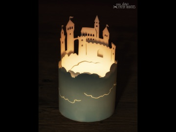 Windlicht-Bastelbogen »Luftschloss« zum Beleuchten mit einem (LED)-Teelicht