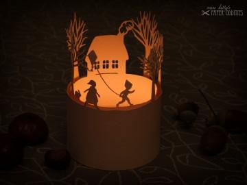 Windlicht-Bastelbogen »Drachenwetter« zum Beleuchten mit einem (LED)-Teelicht - Handarbeit kaufen