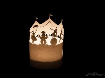 Windlicht-Bastelbogen »Zirkus« zum Beleuchten mit einem (LED)-Teelicht