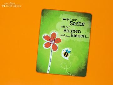 Postkarte »Wegen der Sache mit den Blumen und den Bienen...«, gefüllt mit Wildblumensamen