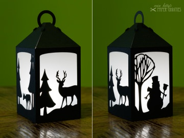 Bastelset Laterne »Winterzauber« — schwarz, zum Beleuchten mit einem LED-Teelicht