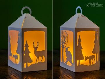 Bastelset Laterne »Winterzauber« — weiß, zum Beleuchten mit einem LED-Teelicht