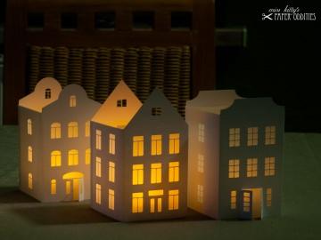 Windlicht-Bastelset »Lichterstadt II« zum Beleuchten mit LED)-Teelichtern