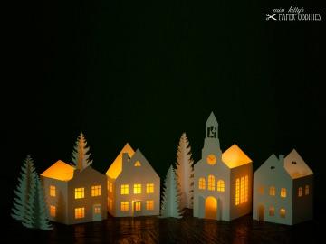 Windlicht-Bastelset »Lichterdorf« zum Beleuchten mit (LED)-Teelichtern