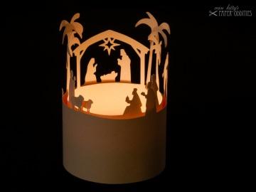 Windlicht-Bastelbogen »Christi Geburt« zum Beleuchten mit einem (LED)-Teelicht