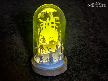 Glasdom »Halloween«, LED-beleuchtete Gruselszene im Glas