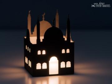 Windlicht-Bastelset »Moschee« — 01.schwarz, zum Beleuchten mit einem (LED)-Teelicht