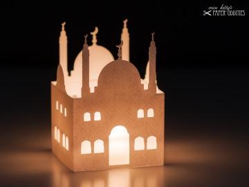 Windlicht-Bastelset »Moschee« — 03.weiß, zum Beleuchten mit einem (LED)-Teelicht
