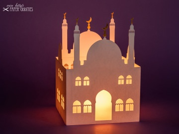 Windlicht »Moschee« mit goldenen Halbmonden, zum Beleuchten mit einem (LED)-Teelicht