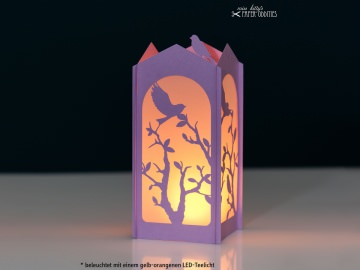 Windlicht-Bastelset »Frühlingserwachen« — 03.lila, zum Beleuchten mit einem (LED)-Teelicht