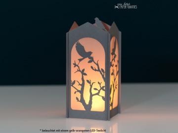 Windlicht-Bastelset »Frühlingserwachen« — 05.steingrau, zum Beleuchten mit einem (LED)-Teelicht - Handarbeit kaufen