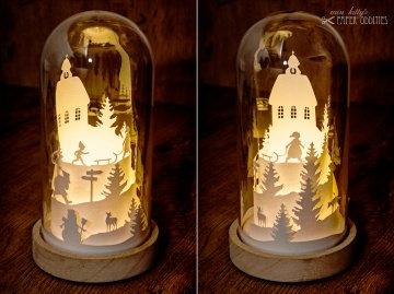 Glasdom »Christnacht«, LED-beleuchtete Weihnachtsszene im Glas