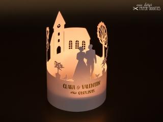 Bastelbogen Windlicht »Hochzeit« 1-tlg. zur Beleuchtung mit einem (LED-) Teelicht