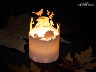 Windlicht-Bastelbogen »Herbstzeit« – weiß; zum Beleuchten mit einem (LED)-Teelicht