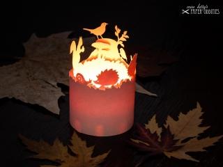 Windlicht-Bastelbogen »Herbstzeit« – beige; zum Beleuchten mit einem (LED)-Teelicht