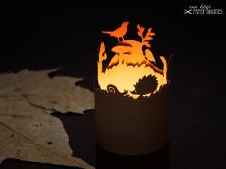 Windlicht-Bastelbogen »Herbstzeit« – rehbraun; zum Beleuchten mit einem (LED)-Teelicht