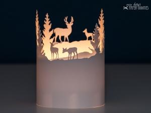 Windlicht-Bastelbogen »Tiere im Winterwald« – weiß; zum Beleuchten mit einem (LED)-Teelicht
