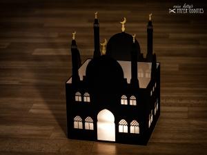 Windlicht »Moschee«, große Variante mit goldenen Halbmonden, zum Beleuchten mit einem (LED)-Teelicht