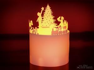 Windlicht-Bastelbogen »Weihnachtsstube« – weiß; zum Beleuchten mit einem (LED)-Teelicht