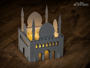 Windlicht-Bastelset »Moschee« 3-teilig (lichtgrau), zum Beleuchten mit einem (LED)-Teelicht