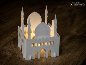 Windlicht-Bastelset »Moschee« 3-teilig (perlweiß), zum Beleuchten mit einem (LED)-Teelicht
