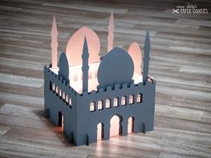 Windlicht-Bastelset »Moschee« 3-teilig XL-Version (lichtgrau), zum Beleuchten mit (LED)-Teelichtern oder Kerzen
