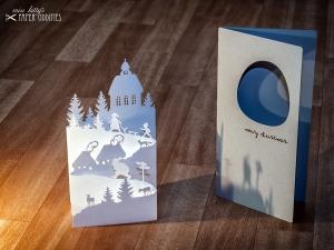 Diorama-Weihnachtskarte »Christnacht« mit herausnehmbarer Winterszene