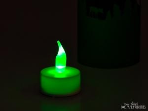 LED-Teelicht mit heller grüner Flamme, flackert nicht