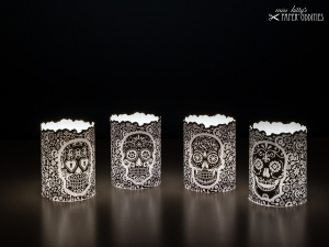 Windlicht-Set »Día de los Muertos« (schwarz) zum Basteln und  Beleuchten mit (LED)-Teelichtern