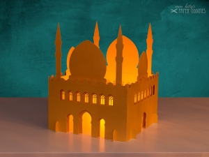 Windlicht-Bastelset »Moschee« 3-teilig XL-Version (gold), zum Beleuchten mit (LED)-Teelichtern oder Kerzen