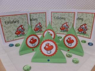 Kindergeburtstag - 4er Einladungsset FLIEGENPILZ - Einladungskarten & Boxen - Handarbeit kaufen