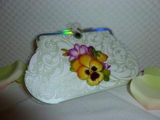 Glückwunschkarte CLUTCH - mit Glitzerdruck und Blumenmotiv - Handarbeit kaufen