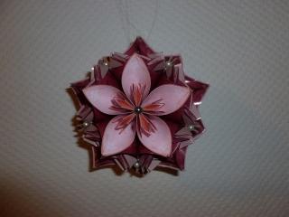 Dekoration - Origami/ Fleurogami Blütenkugel - Farbstellung bordeaux-rosa - Handarbeit kaufen
