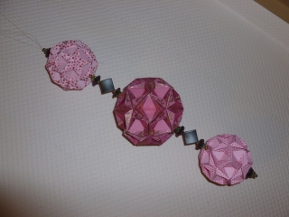 Dekoration - Origami-Hänger mit 3 Blütenkugeln und Perlen - Handarbeit kaufen