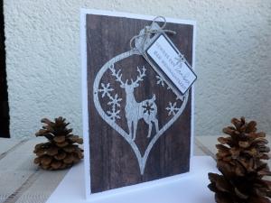 Weihnachten - rustikale Weihnachtskarte mit Hirschmotiv