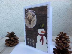 Weihnachten - rustikale Weihnachtskarte mit Schneemann