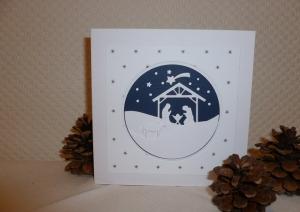 Weihnachten - schöne edle Weihnachtskarte mit Krippen-Szene