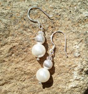 Elegante Ohrringe aus Perle und echt Silber♡ elegant Hochzeit Anlass Echtschmuck Ohrhänger Ohrhaken 925er Silber