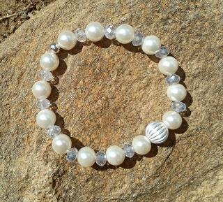Perlen Armband mit Silber und Kristall☀ Unikat, Hochzeit, Individuell, Kristallglas, 925er Silber, Glitzer, Muschelkernperlen